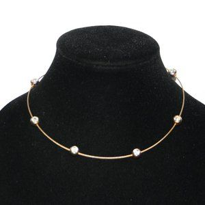 """beautiful gold wire and cz necklace 16"""""""